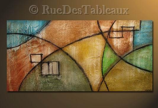 Paysage arlequin - tableau peint-main peinture à l'huile