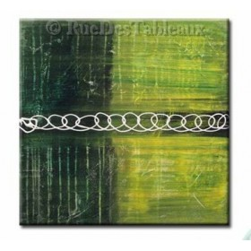 Le vert enchaîné - tableau peint-main peinture à l'huile
