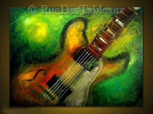 Guitare - tableau peint-main peinture à l'huile