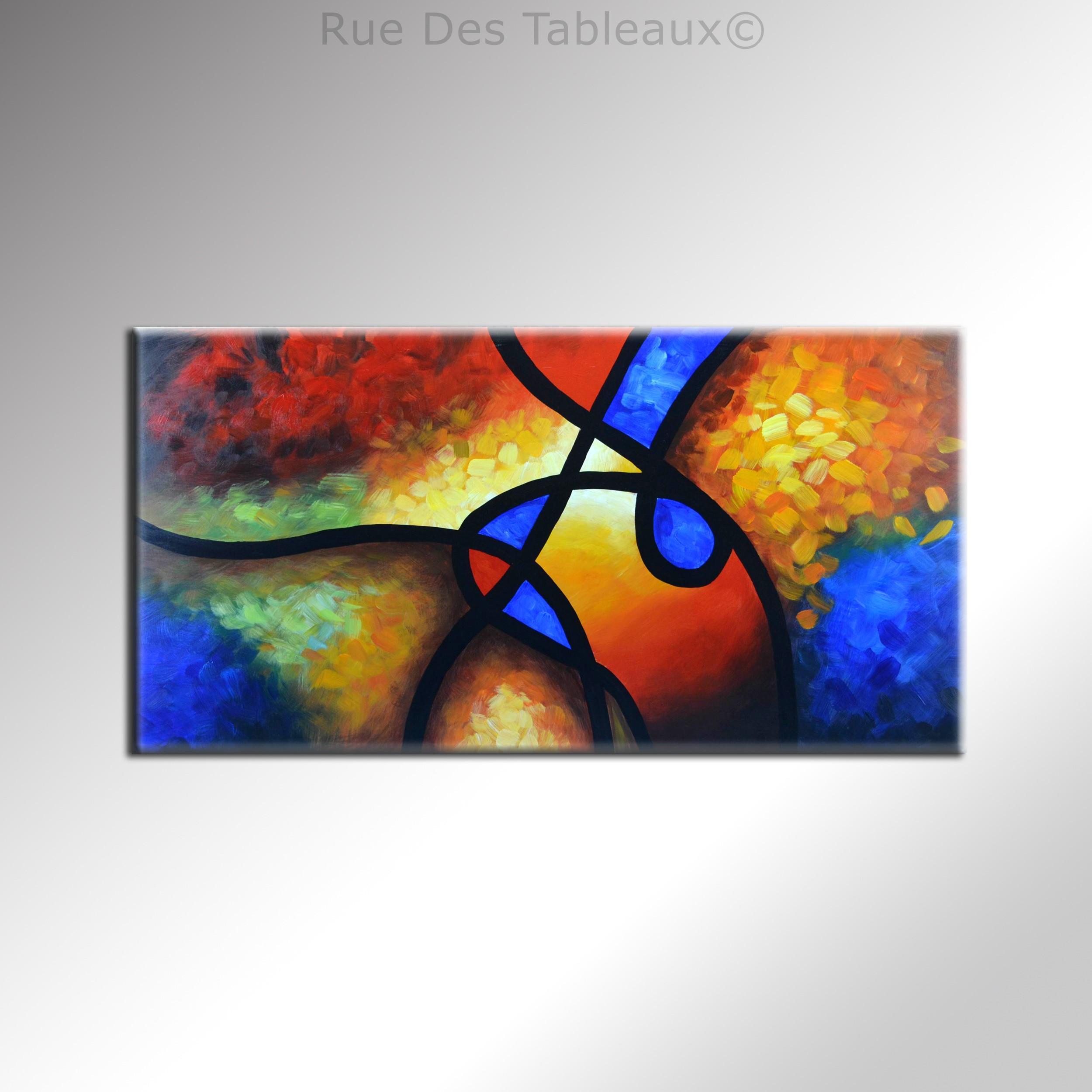 Tableaux abstrait tableau contemporain triptyque peinture modernes - Tableau peinture a l huile moderne ...