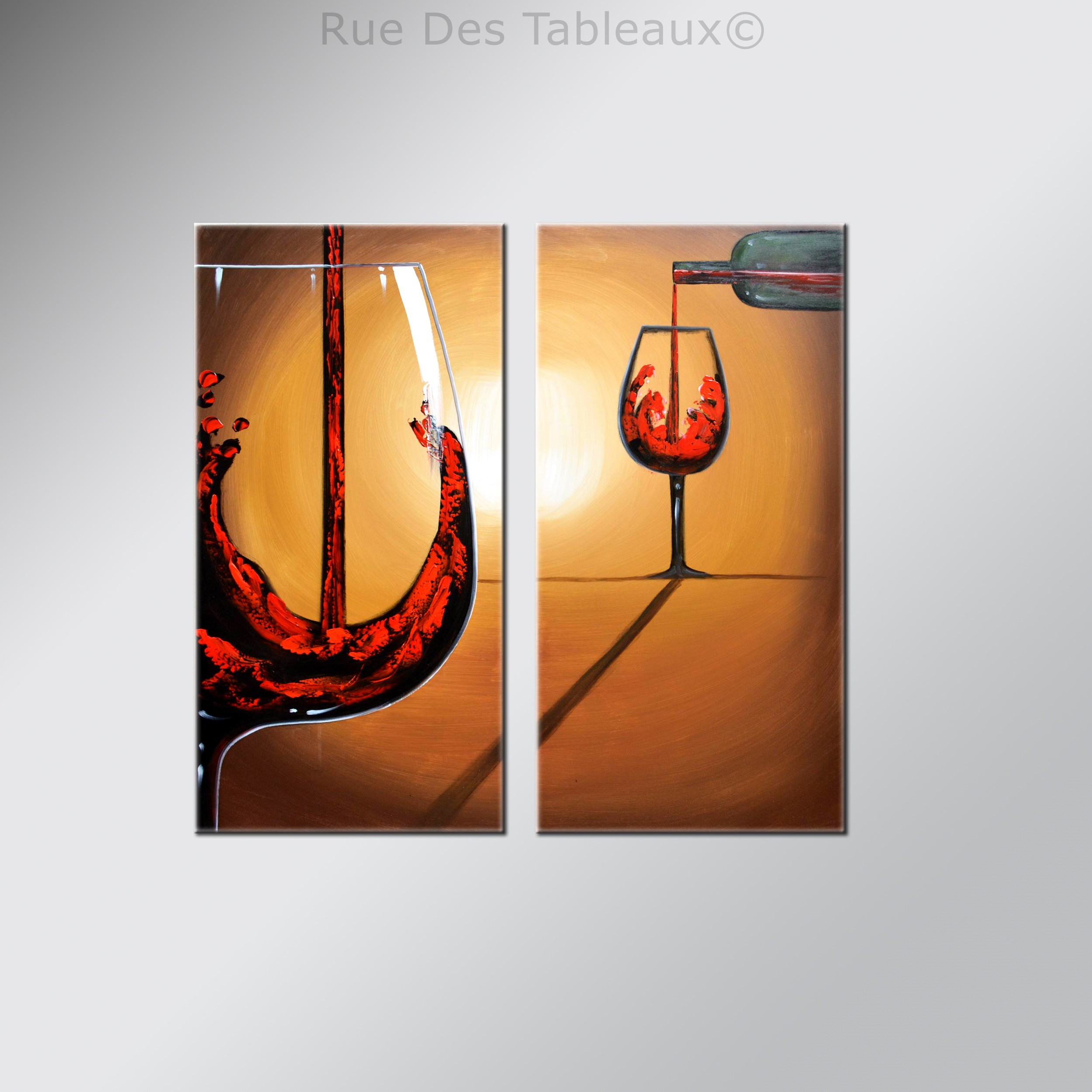 Superbe Rue Des Tableaux #6: Verres Du0027ivresse - Tableau Peint-main Peinture à Lu0027huile
