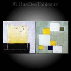 Géométrie en suspension - tableau peint-main peinture à l'huile