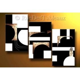 Géométrie en blanc et noir - tableau peint-main peinture à l'huile