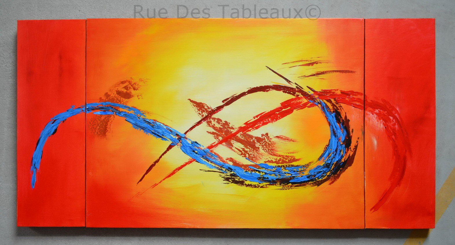 Bleu au coeur - tableau peint-main peinture à l'huile
