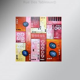 Patchwork et boutons - tableau peint-main peinture à l'huile