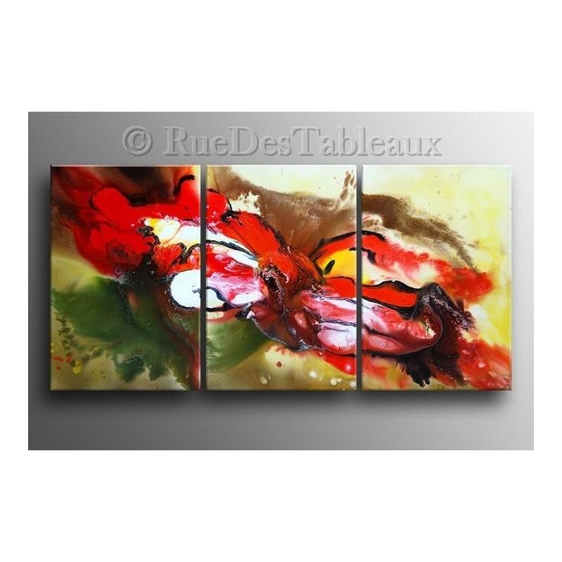 Tableaux abstrait peintures sur toiles toile tryptique - Peinture abstraite a l huile ...