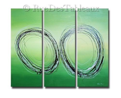 Circonférences répétées - tableau peint-main peinture à l'huile