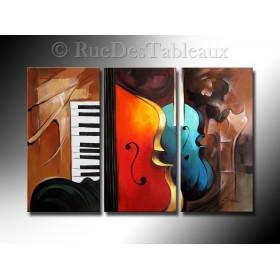 Claviers et cordes - tableau peint-main peinture à l'huile