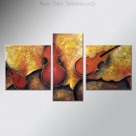 Violons en attente - tableau peint-main peinture à l'huile