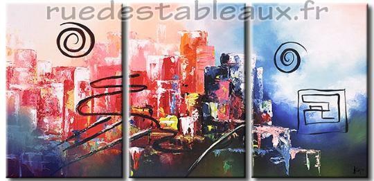 Ville animée - tableau peint-main peinture à l'huile