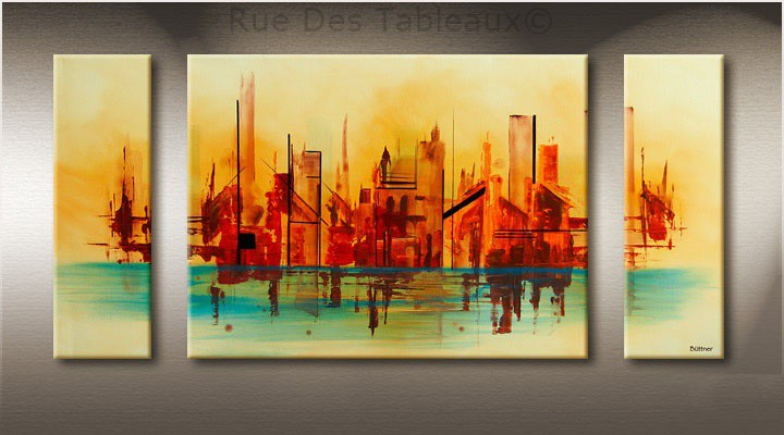 Ville sur l'eau - tableau peint-main peinture à l'huile