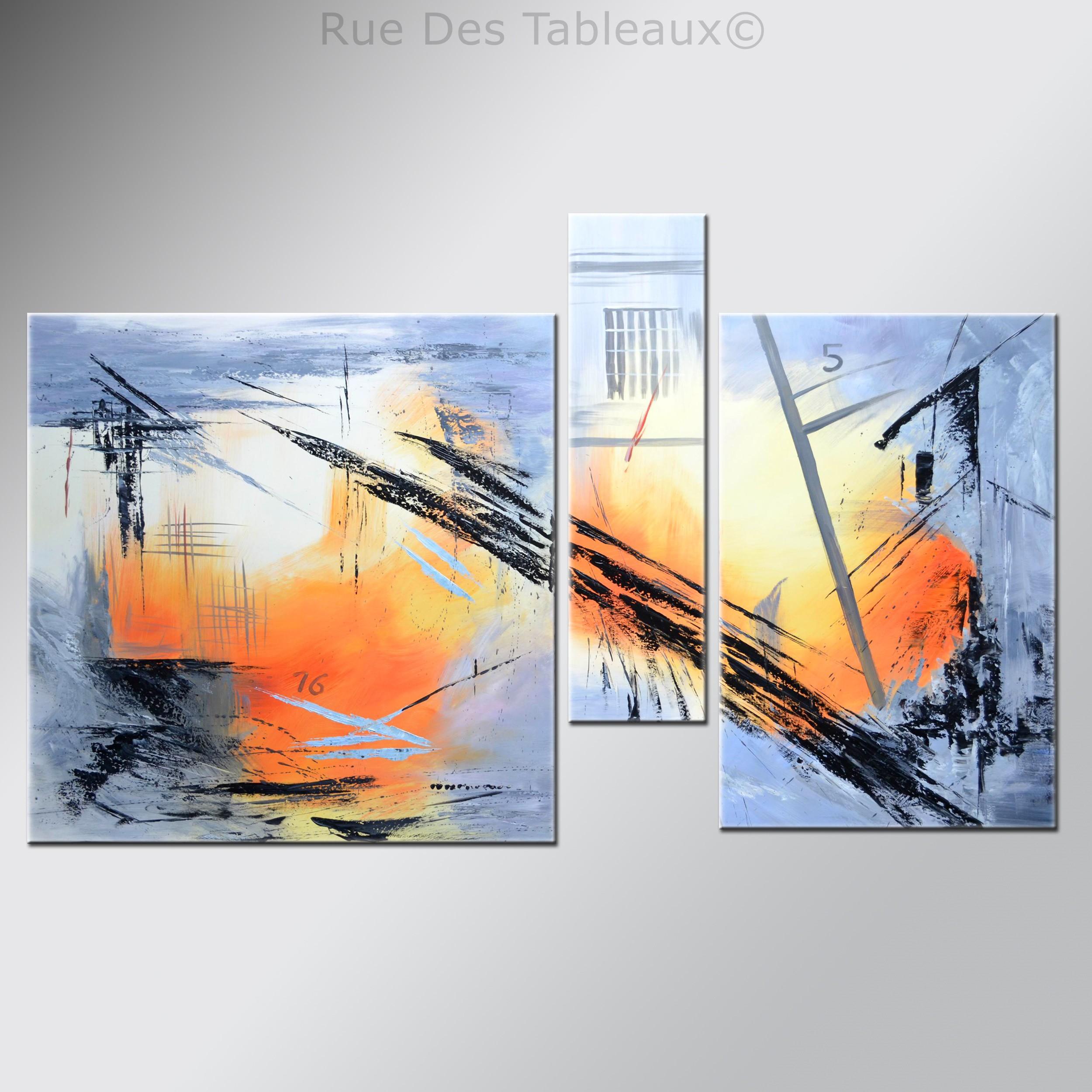 Tableaux abstrait tableau artiste contemporain tryptique tableau - Tableaux peinture a l huile ...
