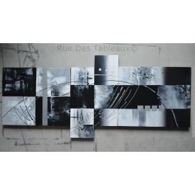 Black and white - tableau peint-main peinture à l'huile