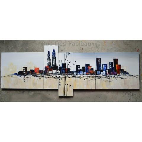 City - tableau peint-main peinture à l'huile