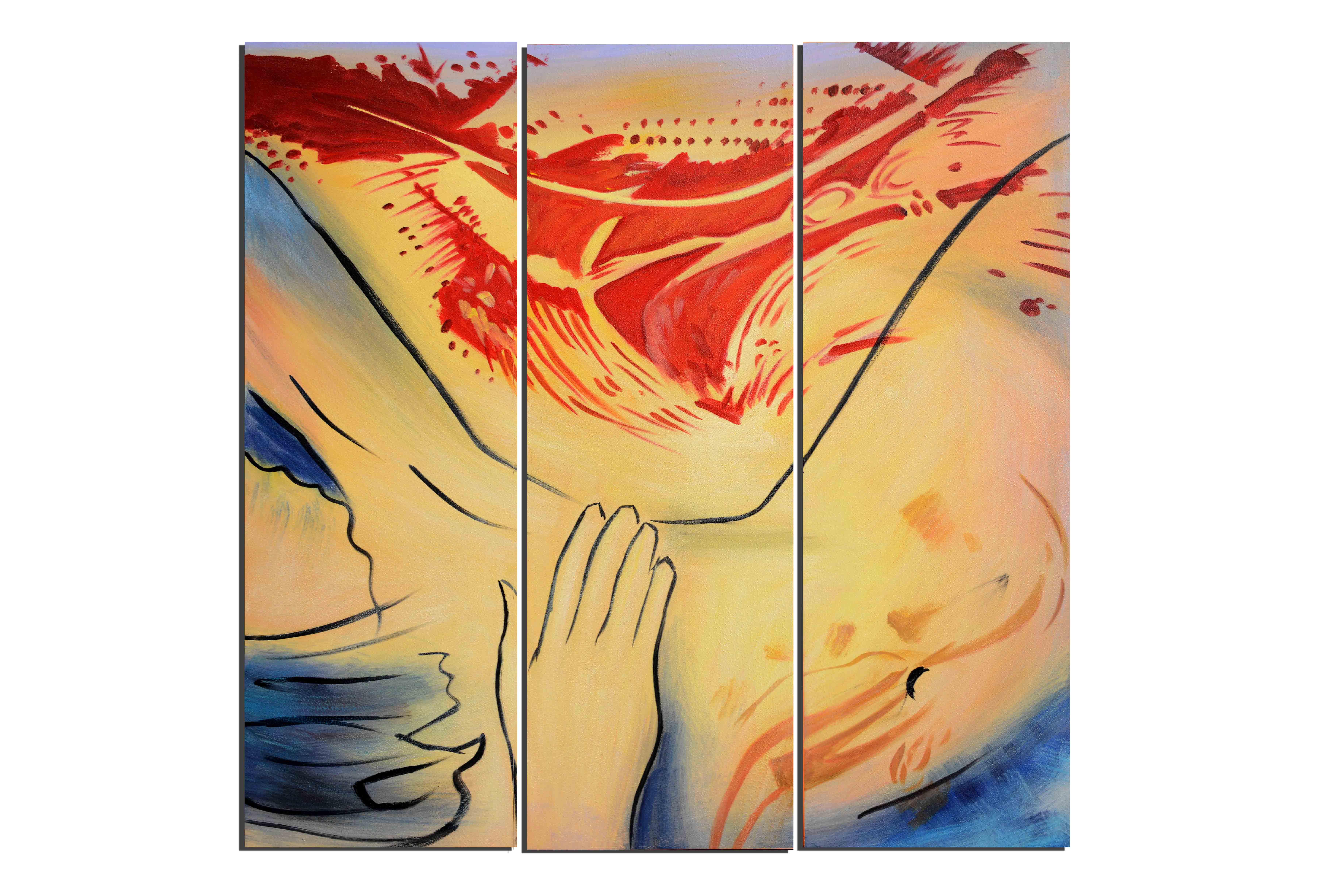 Femme enceinte - tableau peint-main peinture à l'huile