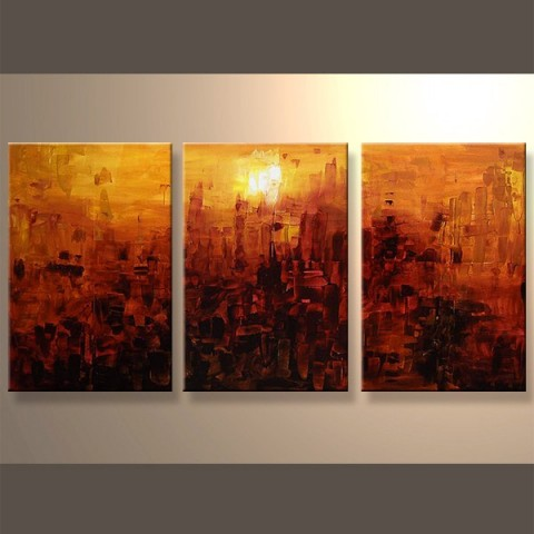 Couleur du soleil - tableau peint-main peinture à l'huile