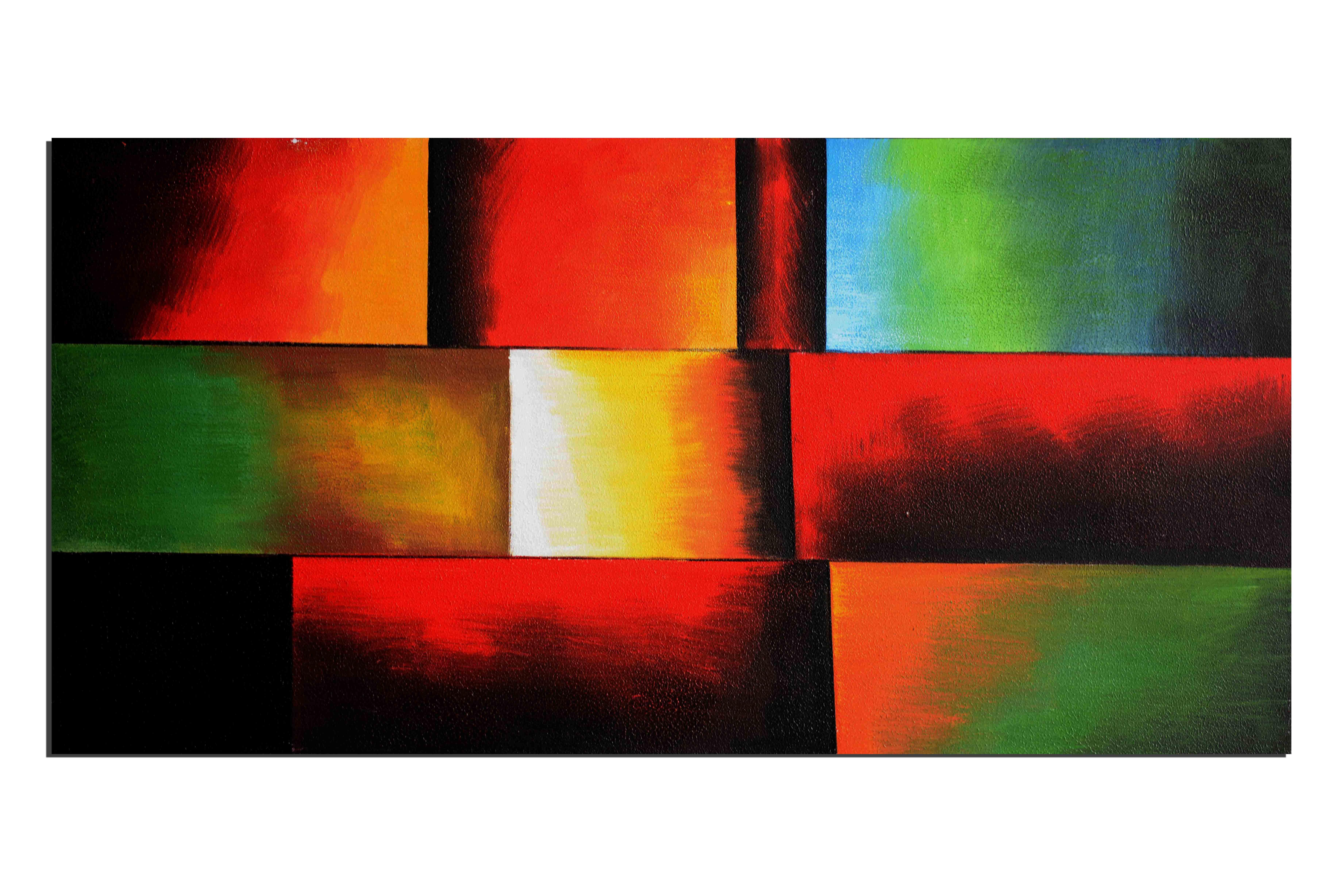 Arc en ciel déstructuré - tableau peint-main peinture à l'huile
