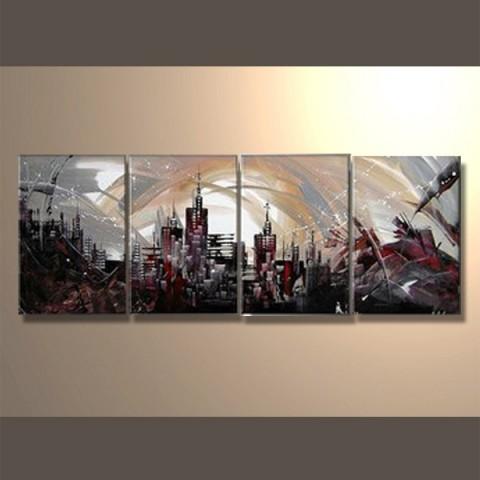 Tempete sur la ville - tableau peint-main peinture à l'huile