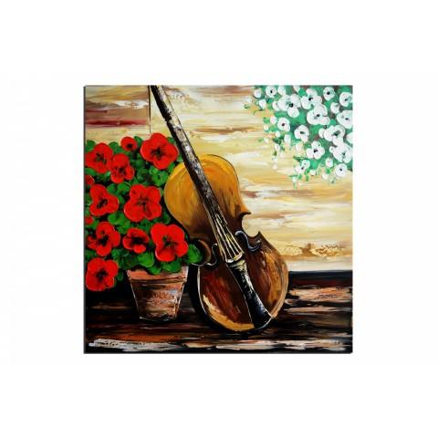 Violon - tableau peint-main peinture à l'huile