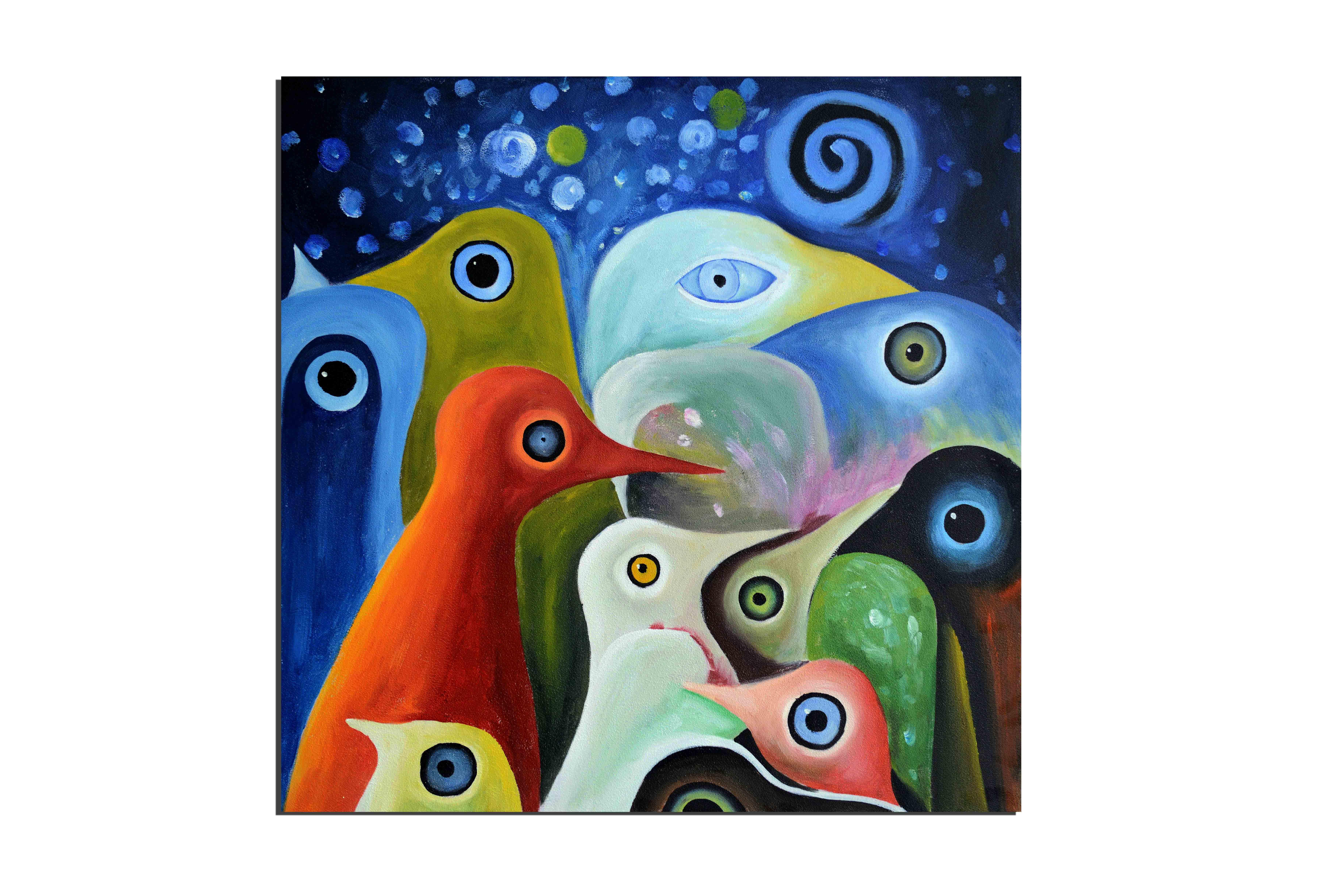 La balade des pingouin - tableau peint-main peinture à l'huile