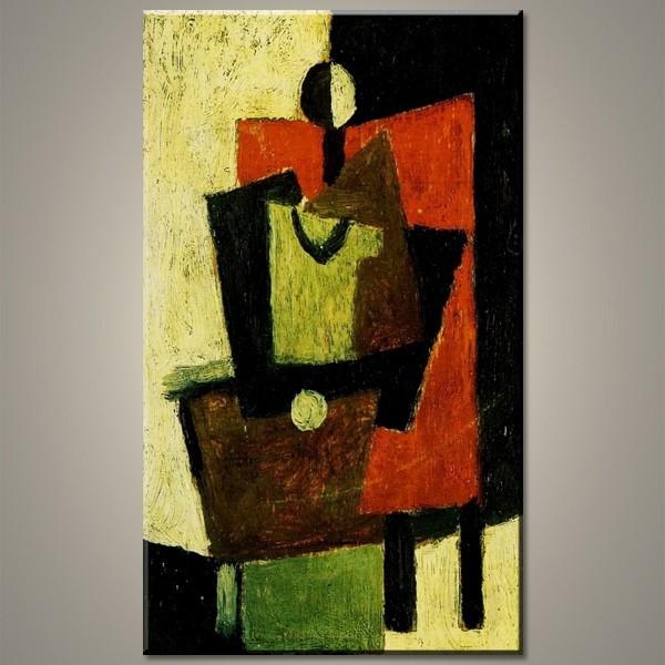 Assis sur un trone - tableau peint-main peinture à l'huile