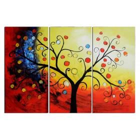 Arbre à la lumière du soir - tableau peint-main peinture à l'huile