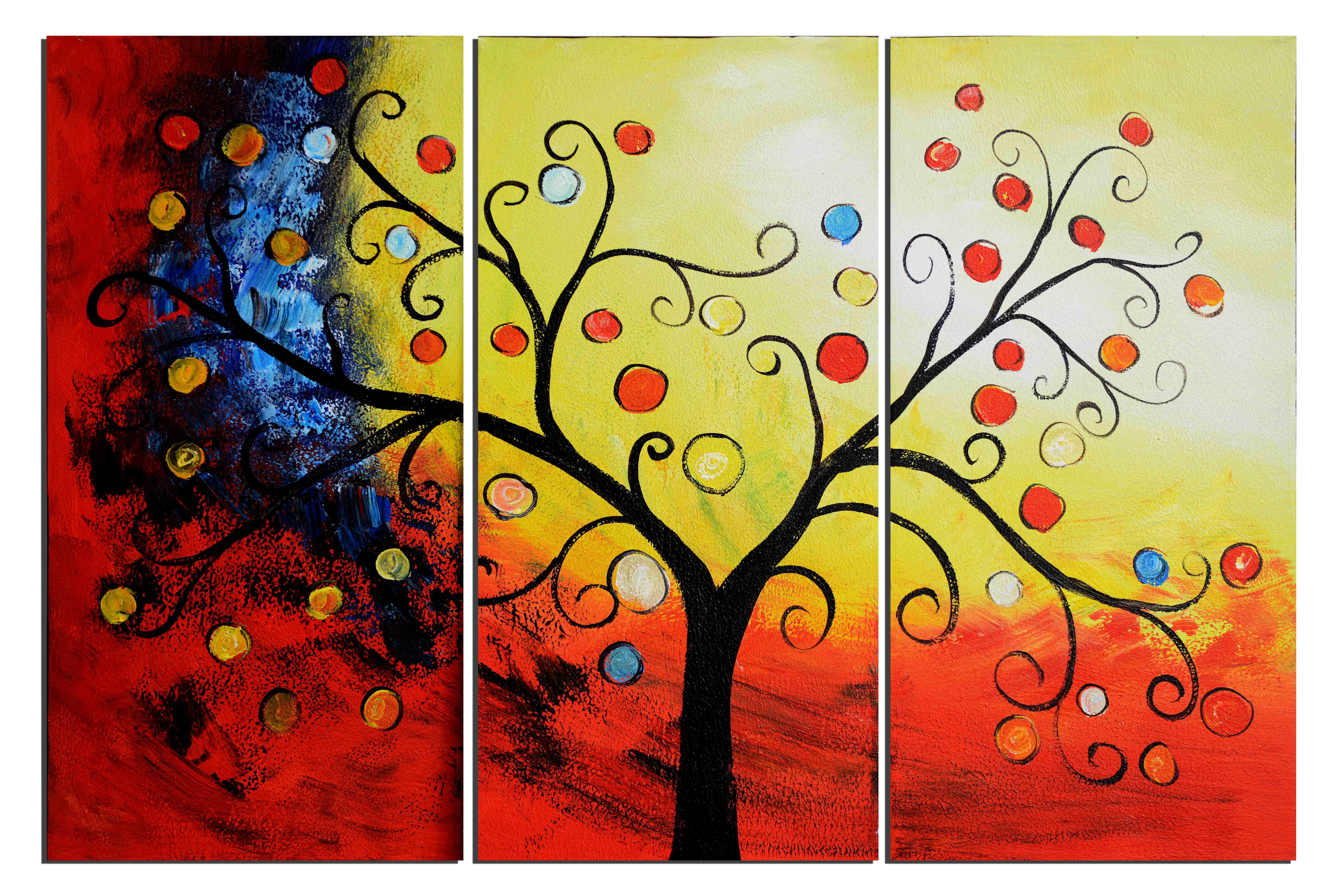 Triptyque paysage abstrait peinture tableau d art moderne for Peinture a tableau