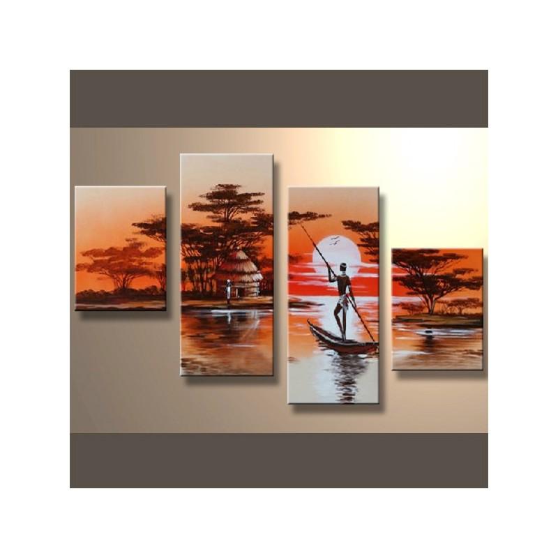 tableaux africain d coration murale afrique peinture huile. Black Bedroom Furniture Sets. Home Design Ideas