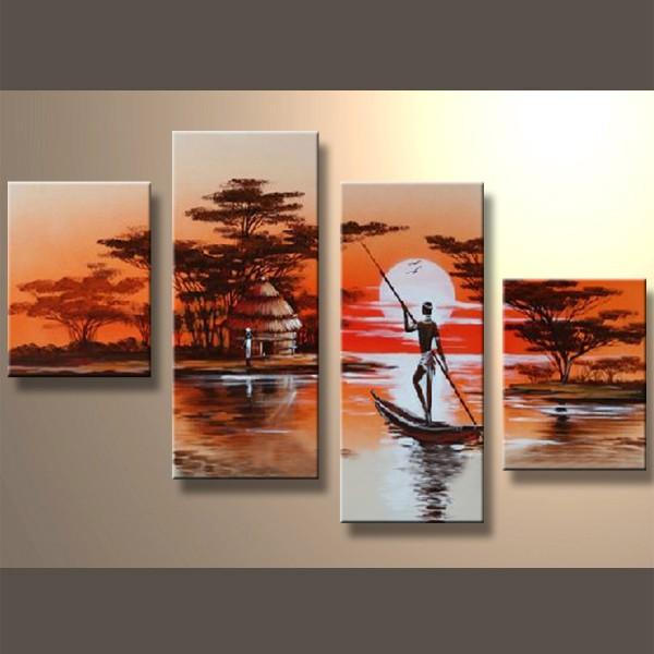 Retrouvaille sur le fleuve - tableau peint-main peinture à l'huile