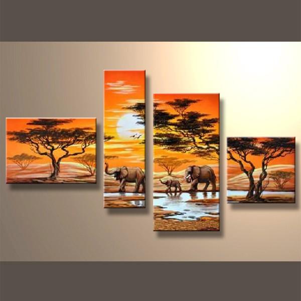La balade des éléphants - tableau peint-main peinture à l'huile