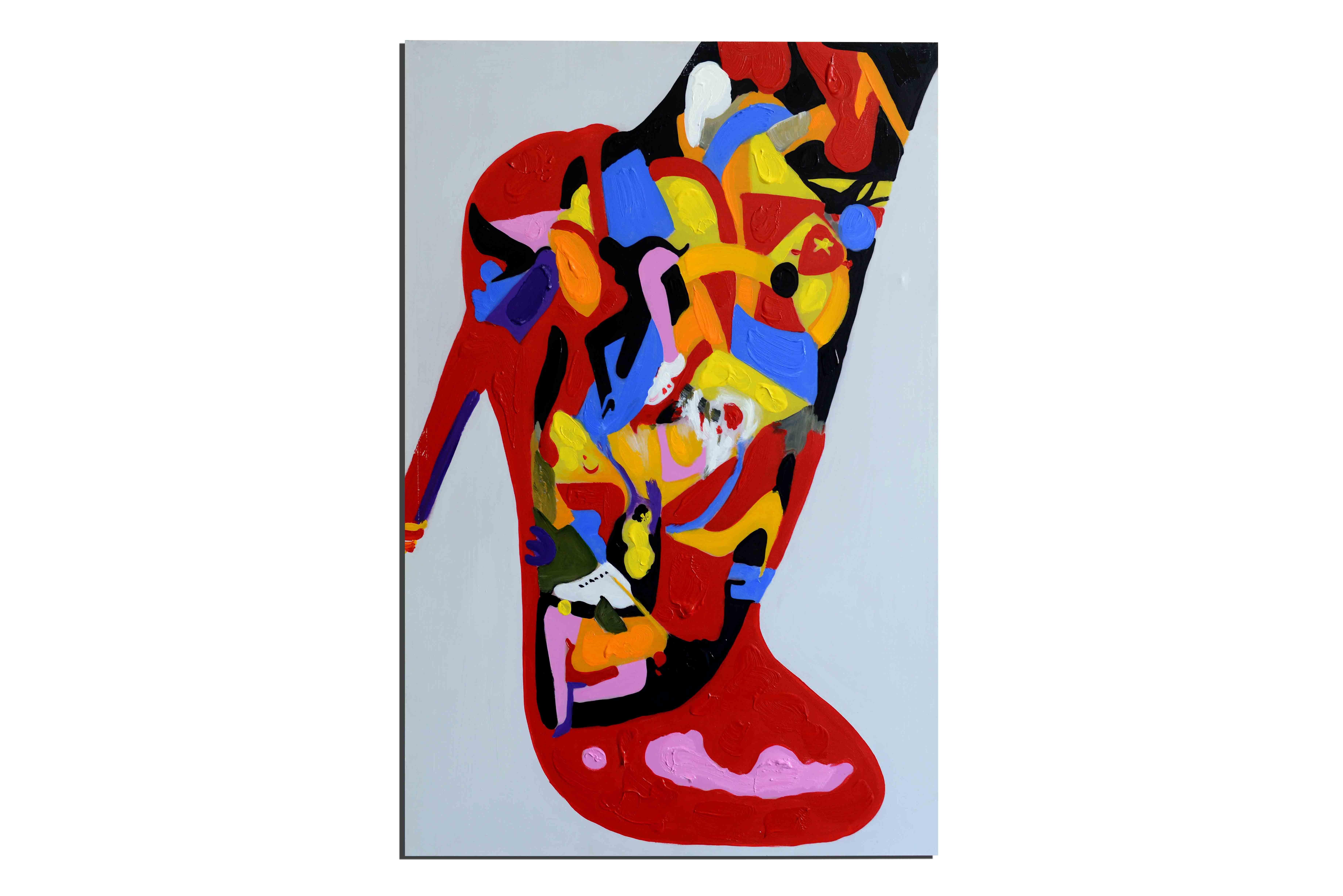 Chaussure à son pied - tableau peint-main peinture à l'huile