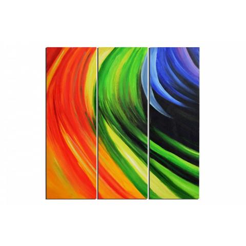 Vague de couleur - tableau peint-main peinture à l'huile
