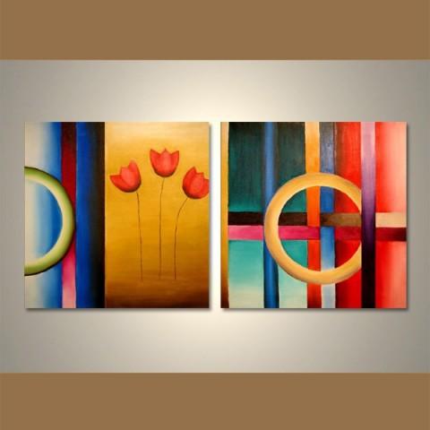 Les trois tulipes - tableau peint-main peinture à l'huile
