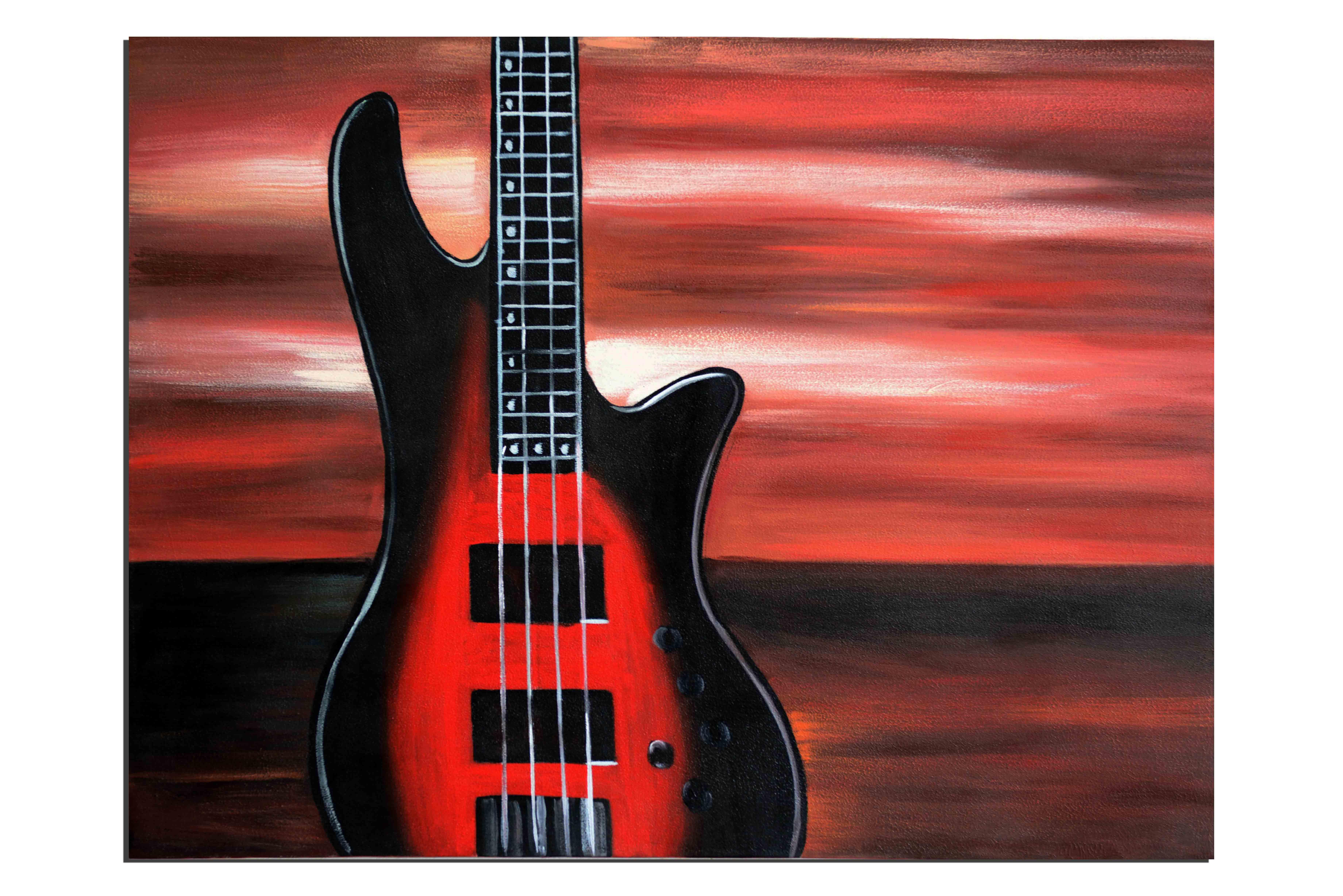 Rock au soleil levant - tableau peint-main peinture à l'huile