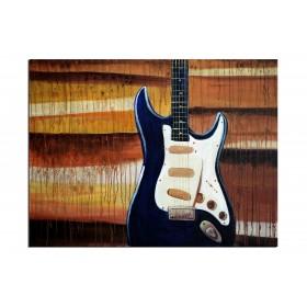 Rock au soleil couchant - tableau peint-main peinture à l'huile