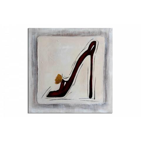 Talon aiguille - tableau peint-main peinture à l'huile