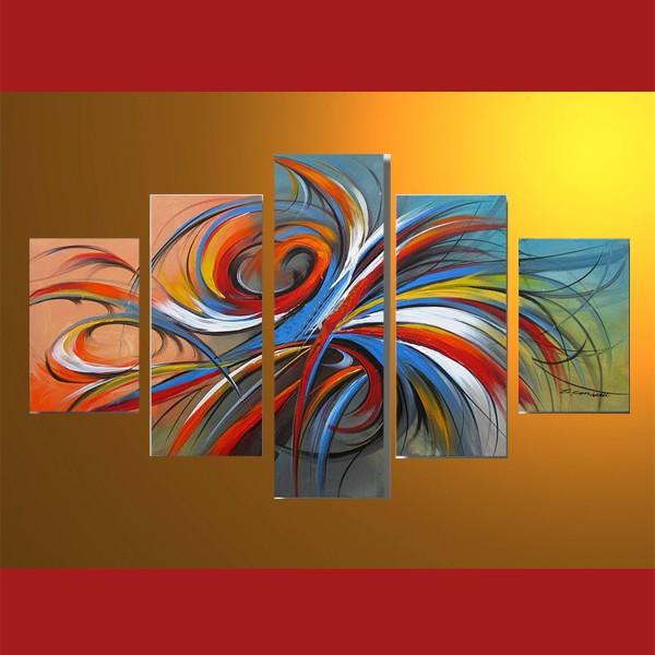 Rubans en mouvement - tableau peint-main peinture à l'huile