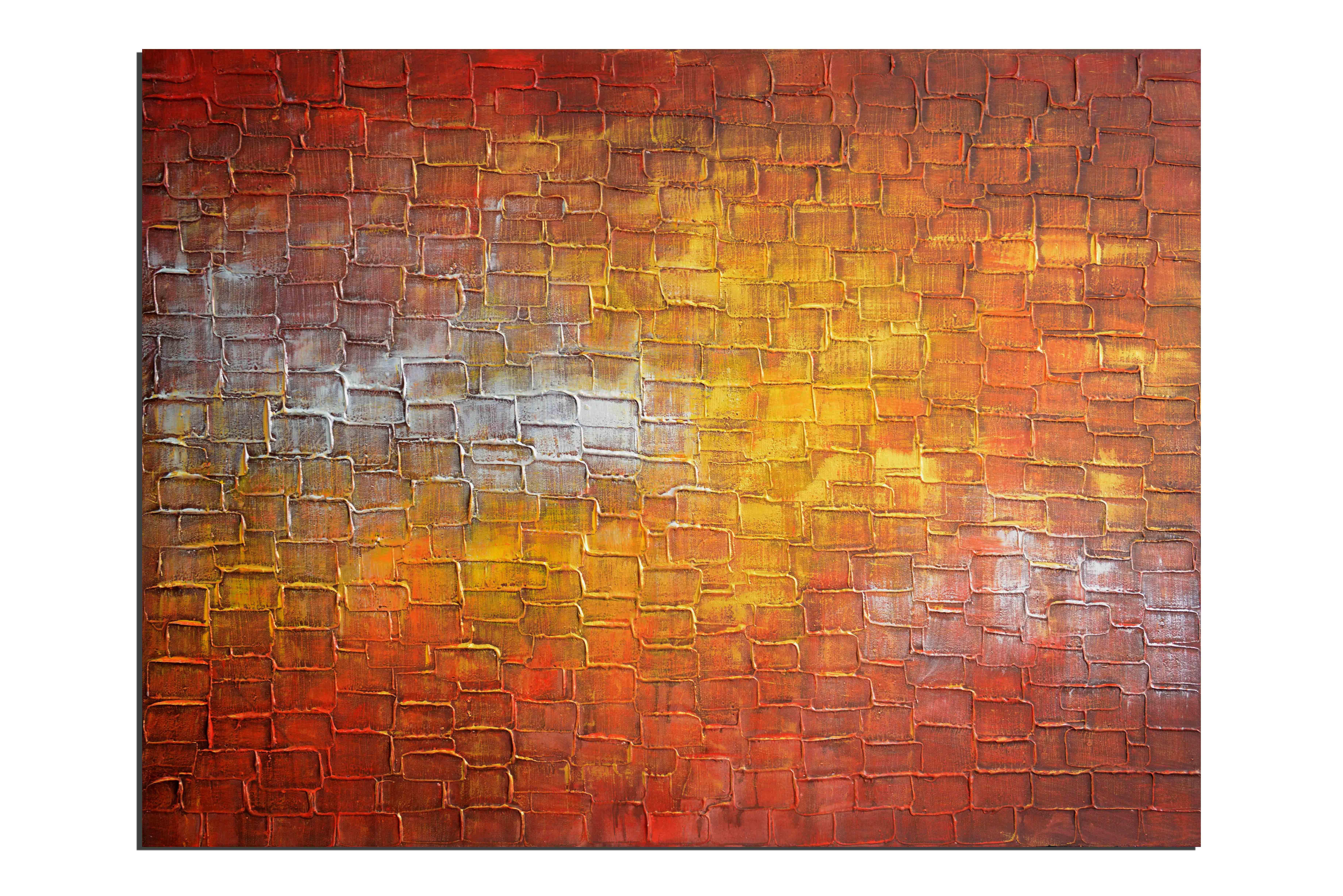 Terre de feu craquelée - tableau peint-main peinture à l'huile