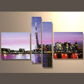 Phare urbain - tableau peint-main peinture à l'huile