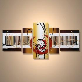 Bambous metalliques - tableau peint-main peinture à l'huile