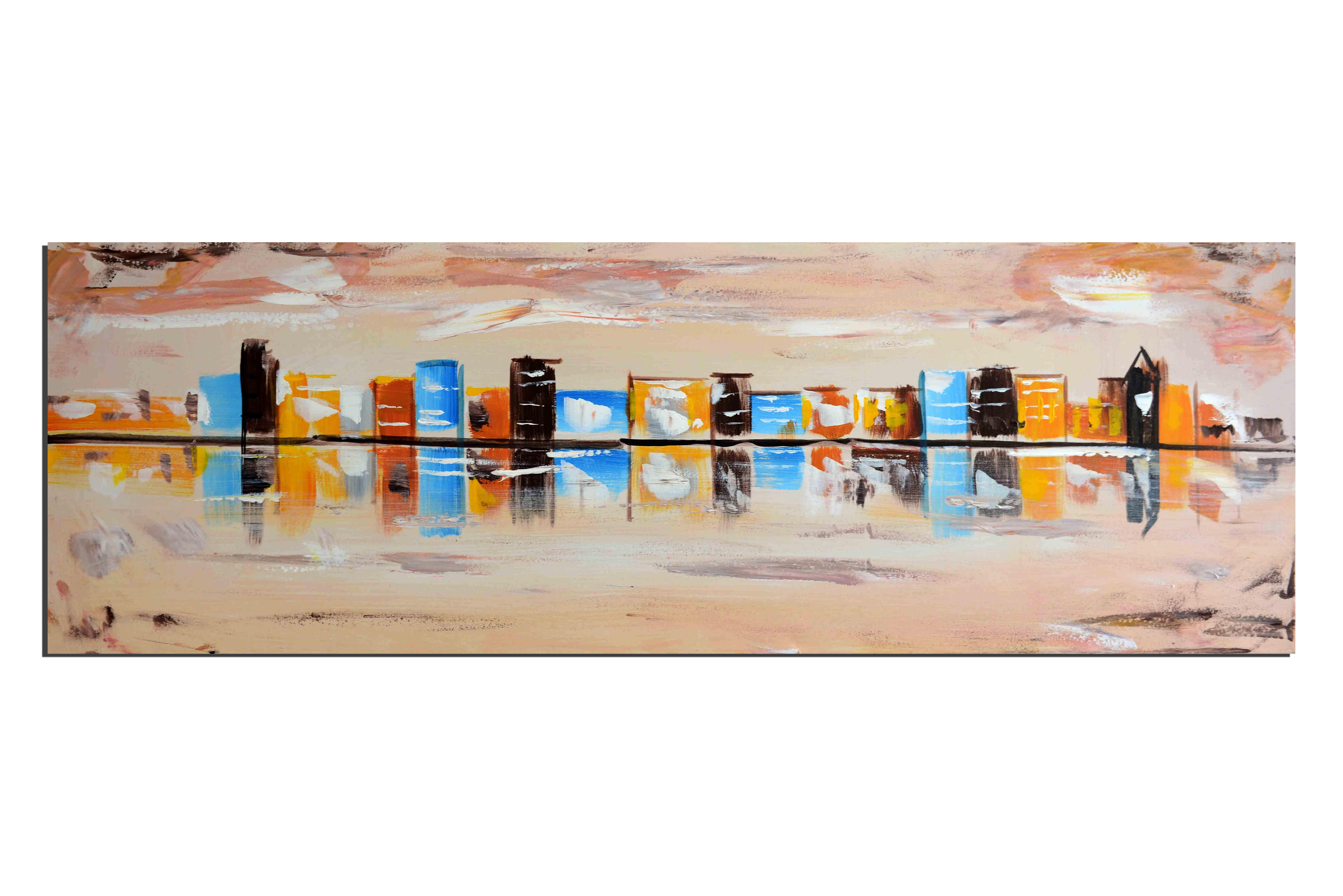 Peinture tableaux ville peinture sur soie tableaux triptyque - Tableaux de peinture a l huile ...
