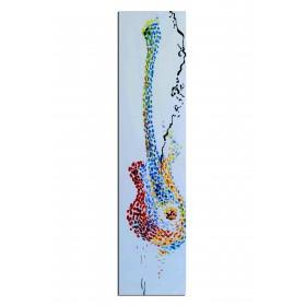 Guitare en pointillés - tableau peint-main peinture à l'huile