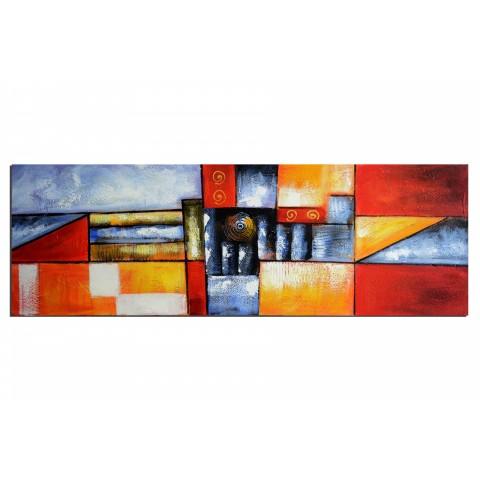 Geométrie colorée - tableau peint-main peinture à l'huile