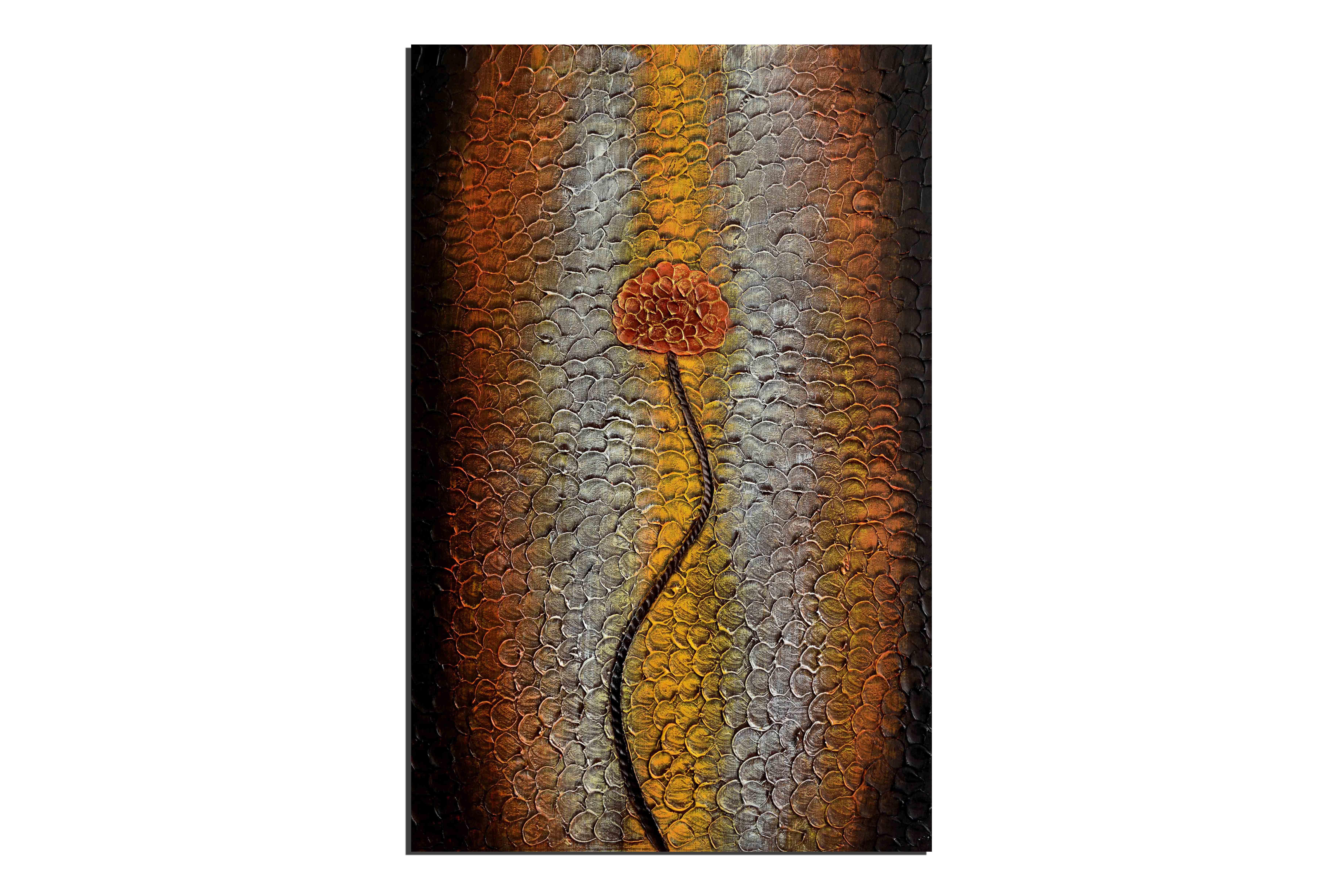 Fleur craquelée - tableau peint-main peinture à l'huile