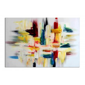 Tissage coloré - tableau peint-main peinture à l'huile