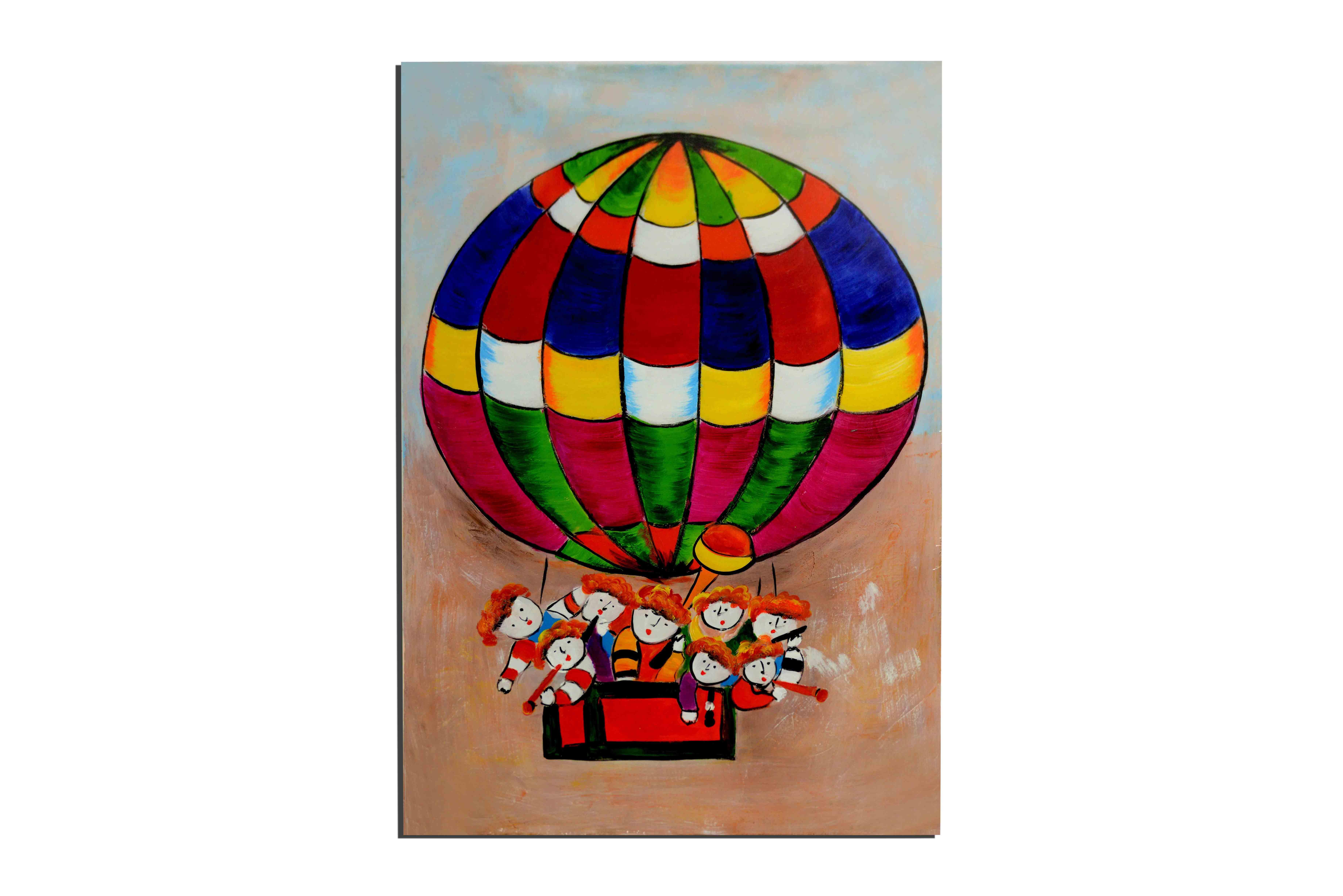 Mongolfière - tableau peint-main peinture à l'huile
