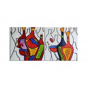 Vin et spiritueux - tableau peint-main peinture à l'huile