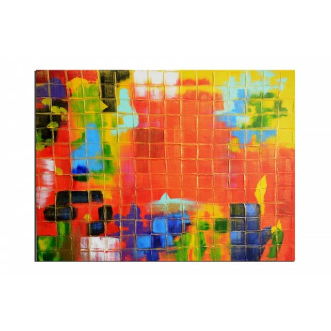A travers les vitraux - tableau peint-main peinture à l'huile