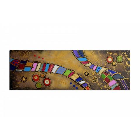 Chemin de fer coloré - tableau peint-main peinture à l'huile