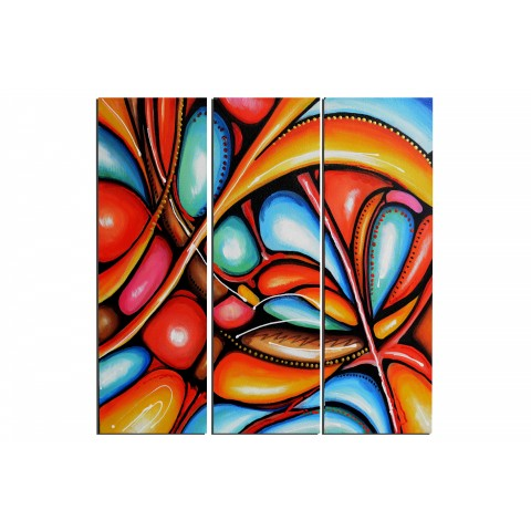 Chrysalides colorées - tableau peint-main peinture à l'huile